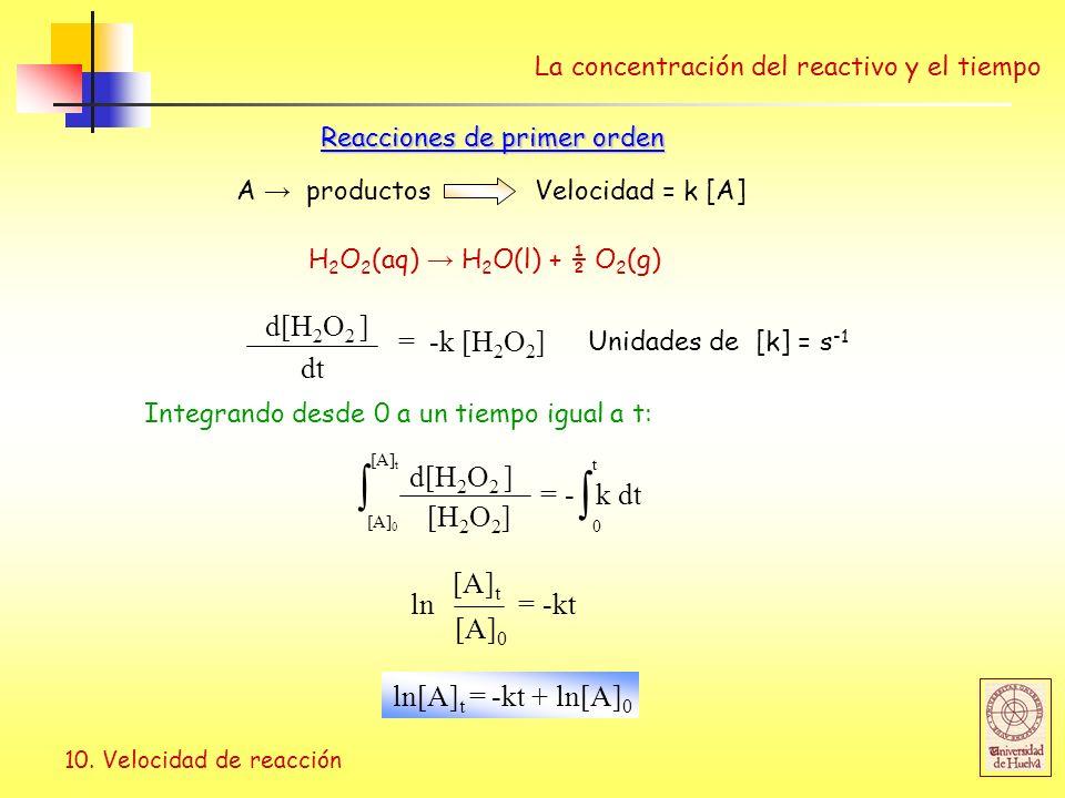  d[H2O2 ] = -k [H2O2] dt d[H2O2 ] = - k dt [H2O2] ln = -kt